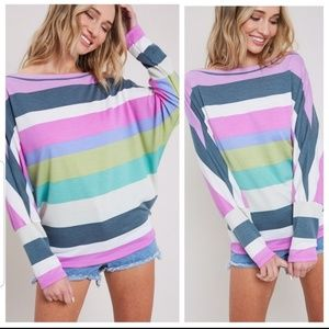 NEW Orchid Striped Dolman Top